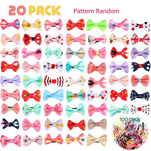 UPINS 20 Pcs Mini Hair Bows Alligator Clips and 100 Pcs Kids Elastics Hair Bands,Tiny Hair Clips Barrettes for Baby Girls Toddlers Kids ()