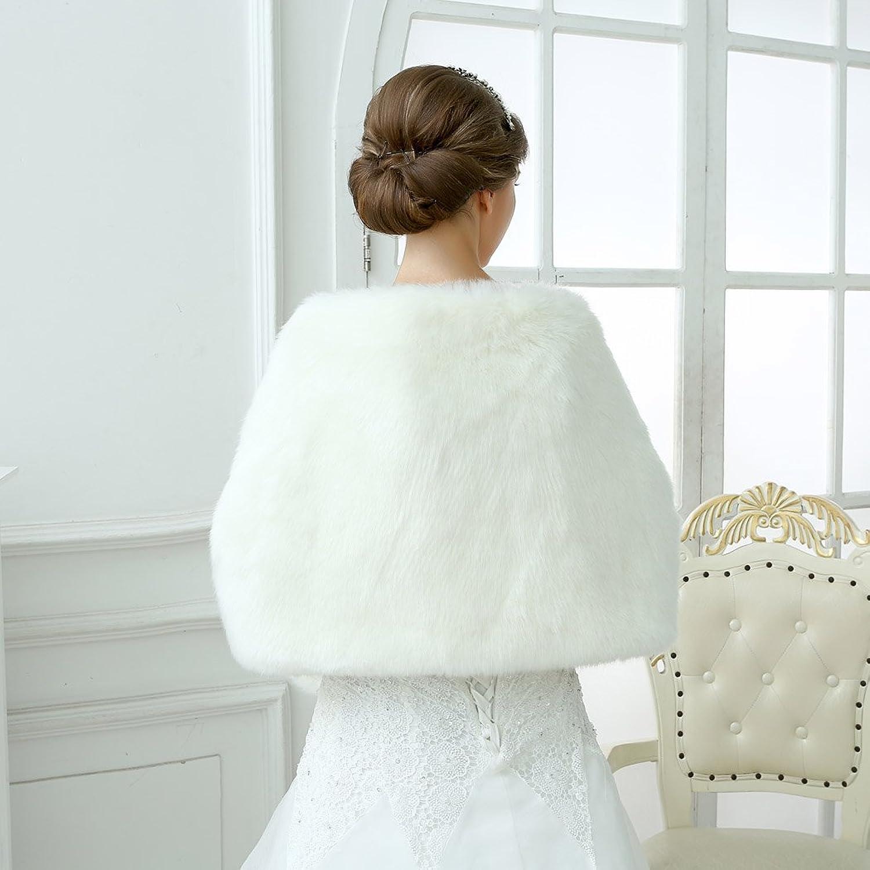 Sarahbridal Women\'s Faux Fur Wrap Cape Stole Shawl Bolero Jacket ...