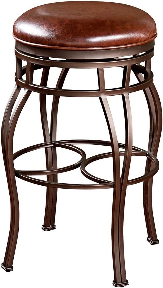 American Heritage Bella-Backless Counter Stool w Swivel Leather Seat, Bar Height , Brown