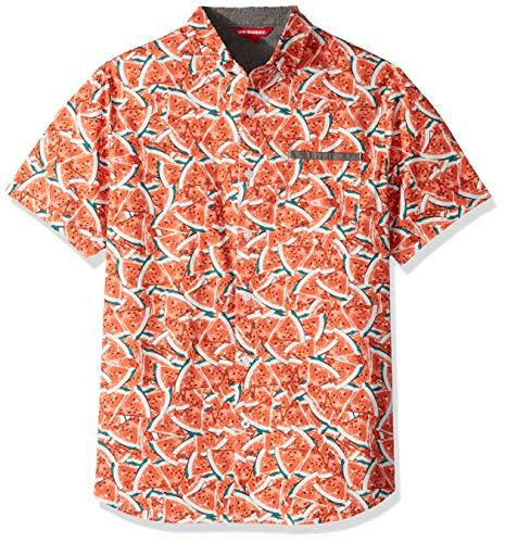 (UNIONBAY Men's Classic Short Sleeve Poplin Button-up Woven Shirt, Festival Medium)