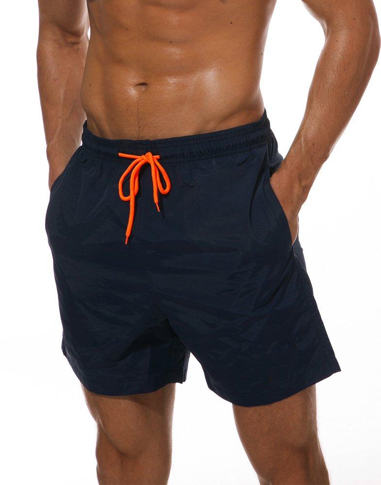 Donhobo Mens Slim Fit Quick Dry Short Swim Trunks with Mesh Lining (Navy,XL)