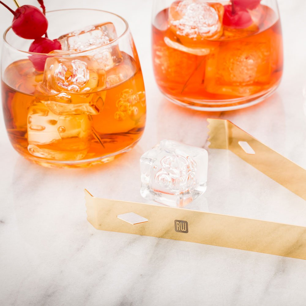 Ice Tongs, Bar Tongs, Bartender Tongs - Gold Plated - 6.25'' - Stainless Steel - Professional Grade - 1ct box - Restaurantware