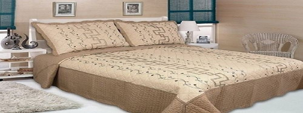 Ramano Collection Queen Size Quilt Set 100% Real Cotton 3PC Coverlet Bedding (Brown Off White)