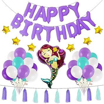 BESTOYARD 1 Set Mermaid Theme Cumpleaños Decoraciones Party ...
