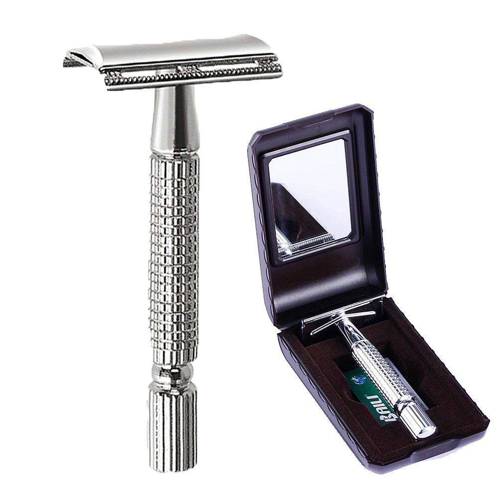 BAILI Men's T-Shaped Shaving Safety Razor Shaver Handle Trimmer Knife Beard Care +1 Blade +1 Mirror Travel Case Silver BT171