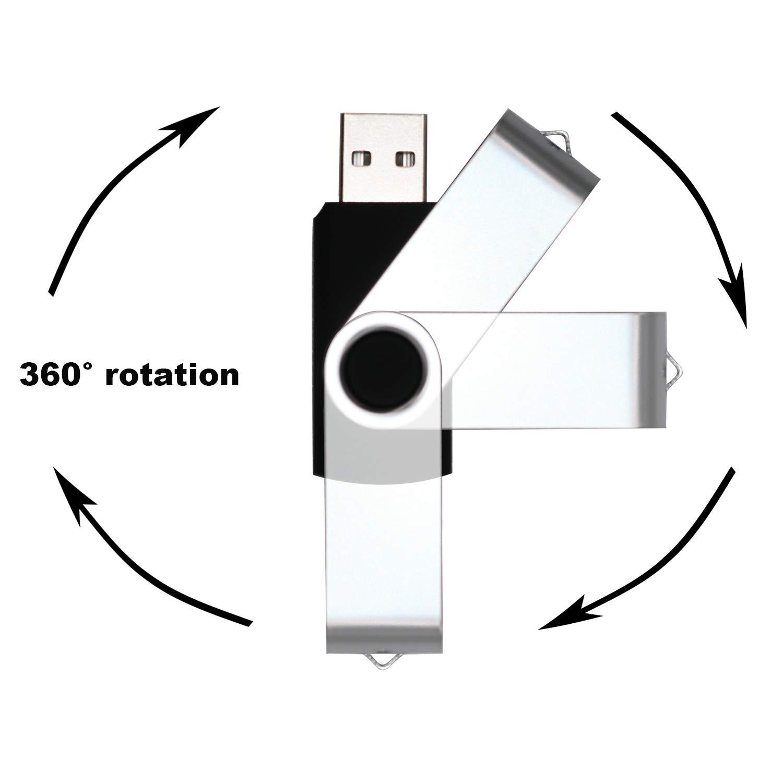 USB Flash Drive 4GB 10 Pack USB 2.0 Thumb Drive Jump Drive Bulk Memory Sticks Zip Drives Swivel Keychain Design 10 Pieces Black
