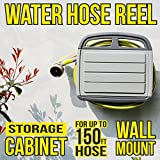 Grandarëk Water Hose Reel Holder Storage Cabinet Box Wall Mount Hanger Rack Garden Backyard convenient watering of the lawn and flower beds clever solution
