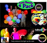 illooms Solid & Marble Light Up LED Balloons 5 Pack Party Pack Bundle - 4 Pack (20 Balloons Total)