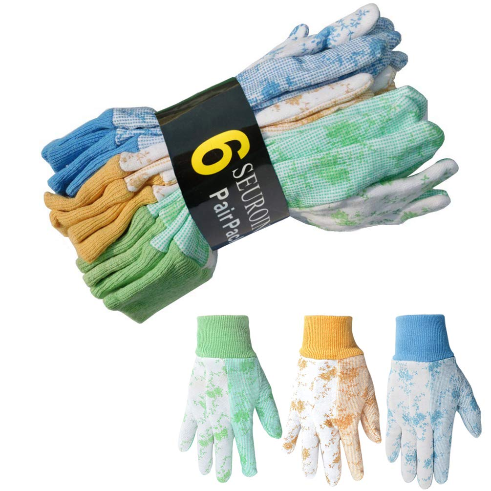 SEUROINT 6 Pairs Pack Cotton Garden Gloves, PVC Dots Soft Women Work Gloves, Non Slip Breathable Gardening Gloves, Medium, Assorted Colors