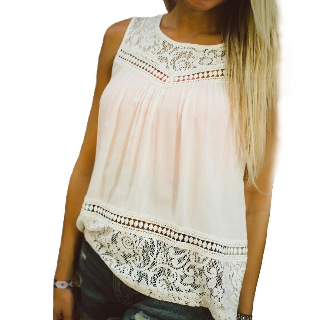 Tank Tops Women, ZYEE❤️ Women Summer Lace Splice Vest Tops Loose Sleeveless Blouse Tank Tops Casual Chiffon T-Shirt Sleeveless Shirt Dress (L, White)