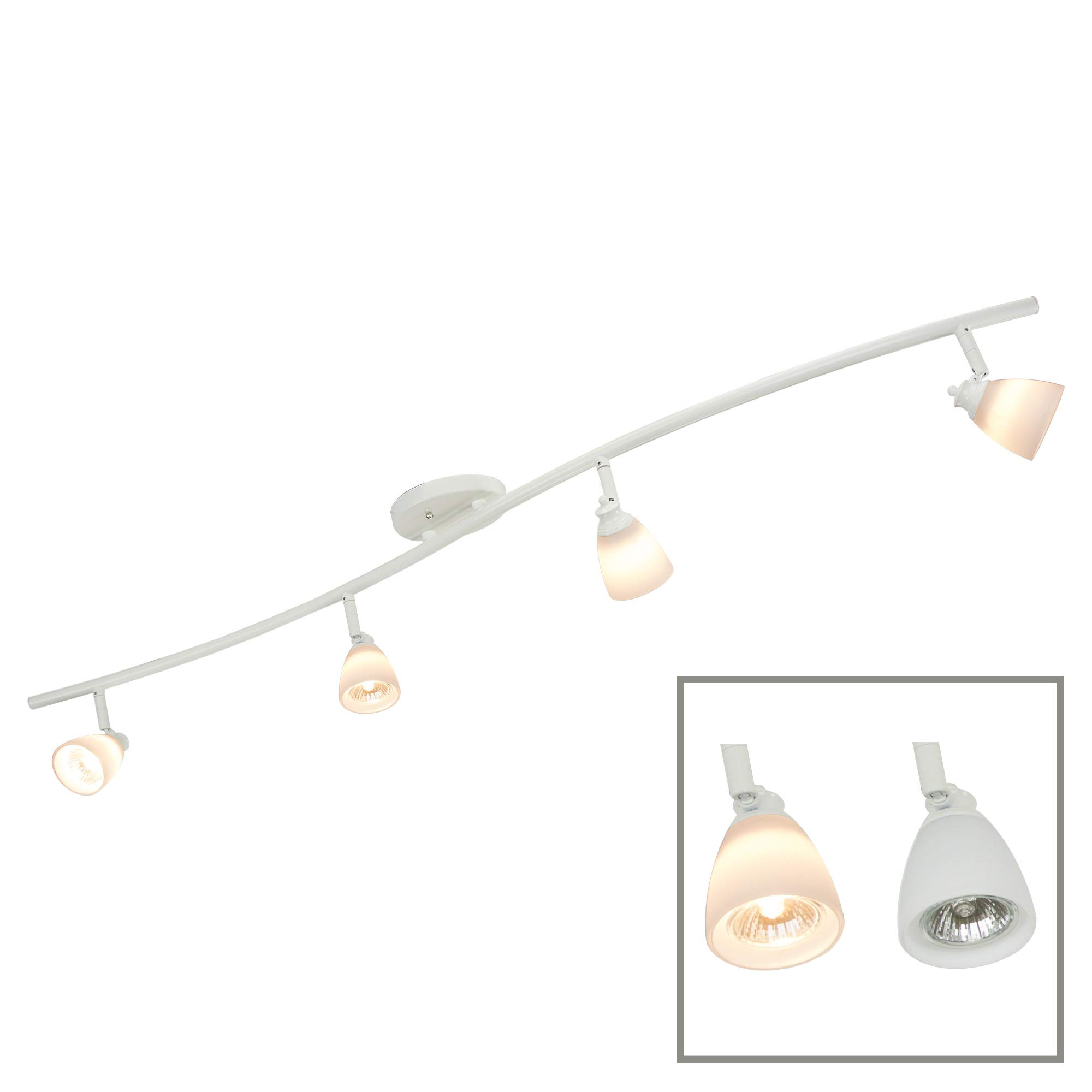 Direct-Lighting 4 Light Adjustable Track Light, White Finish, White Glass Shade, Ready to Install, Bulb Included, D268-44C-WH-WH