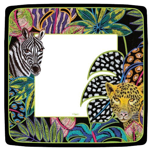 Entertaining with Caspari Entertaining Square Salad and Dessert Plates, Jungle Story, Pk 16