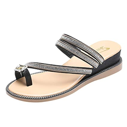 09e02744a DDKK sandals Women Ladies Fashion Flat Thong Sandals with T-Strap and Adjustable  Ankle Buckle