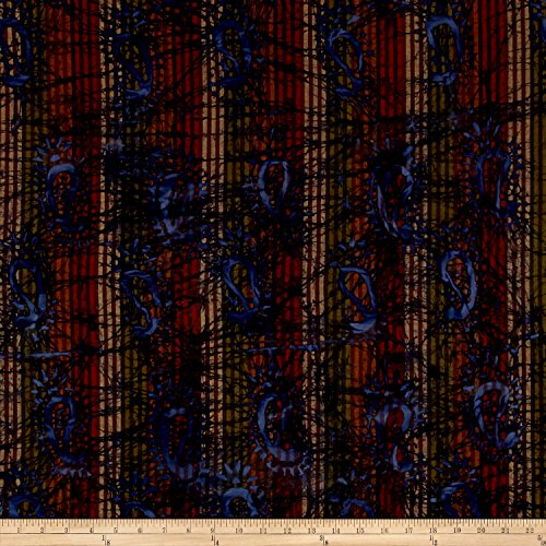 Textile Creations Indian Batik Woven Paisley Olive/Brown/Wine Fabric by The Yard