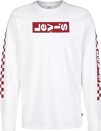 3eb3705eb63225 Levi's Long Sleeve Graphic T-Shirt White: Amazon.co.uk: Clothing
