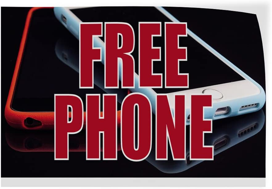 14inx10in Set of 10 Decal Sticker Multiple Sizes Free Phone #6 Retail Free Phone Outdoor Store Sign Black