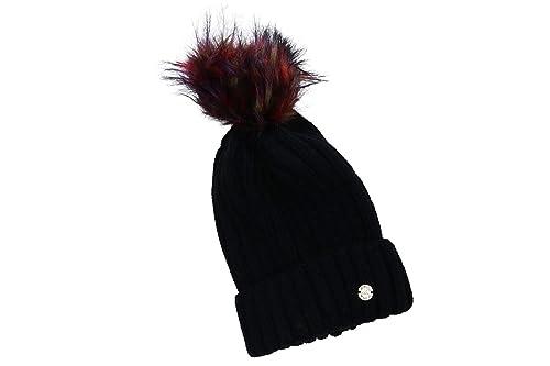 Sombrero mujer GIANMARCO VENTURI negro gorra con pompon y solapa 100% acrílico