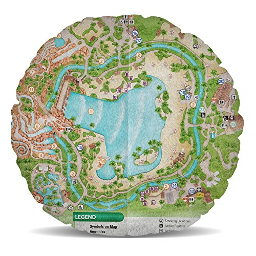 Typhoon Lagoon Map Fleece Cushion - Round Cushion - 15in - Heart Round Square Shaped Pillow in 2 - Typhoon Of Lagoon Map
