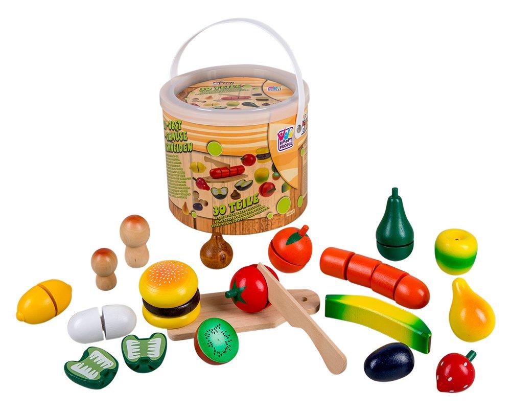 Happy People 45043 - Holz-Obst und Gemüse im Eimer, Küchenspielzeug ...