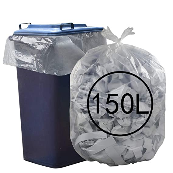 50 x Heavy Duty Clear Compactor Sacks Waste Refuse Bags Rubbish Bin Liners
