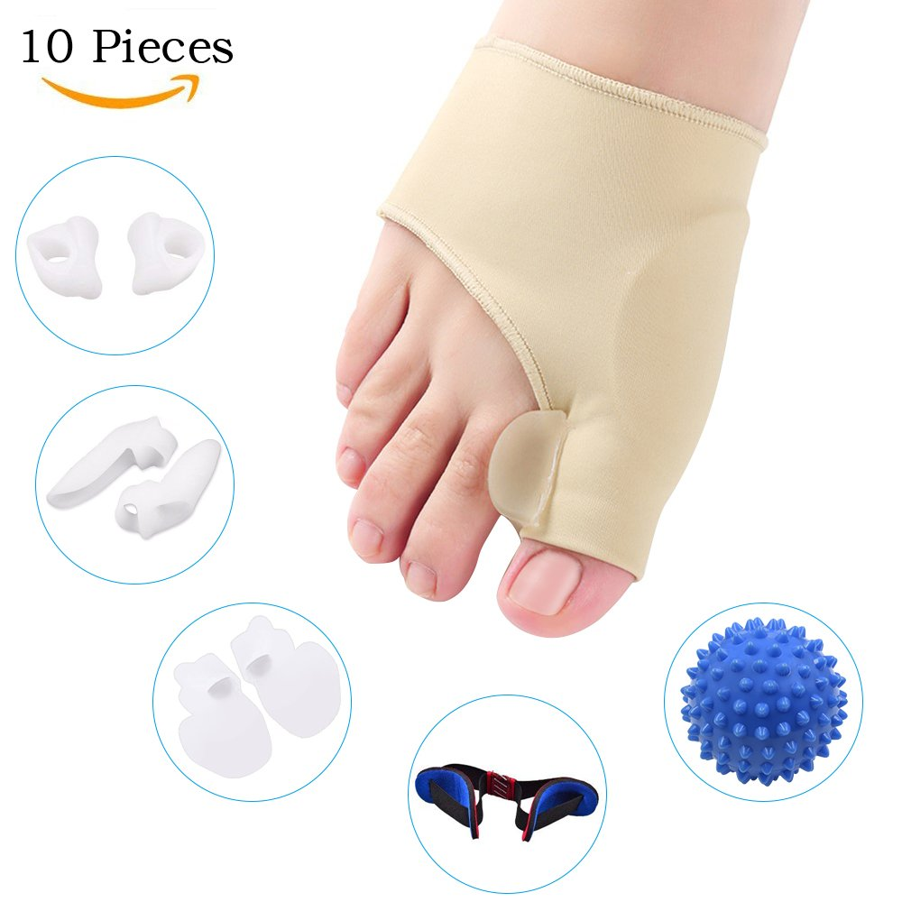 Bunion Corrector and Bunion Relief Kit for Bunion, Hallux Valgus, Big Toe Joint with Protector Sleeve, Separators, Straightener Splint and Foot Massage Ball by Jarvania