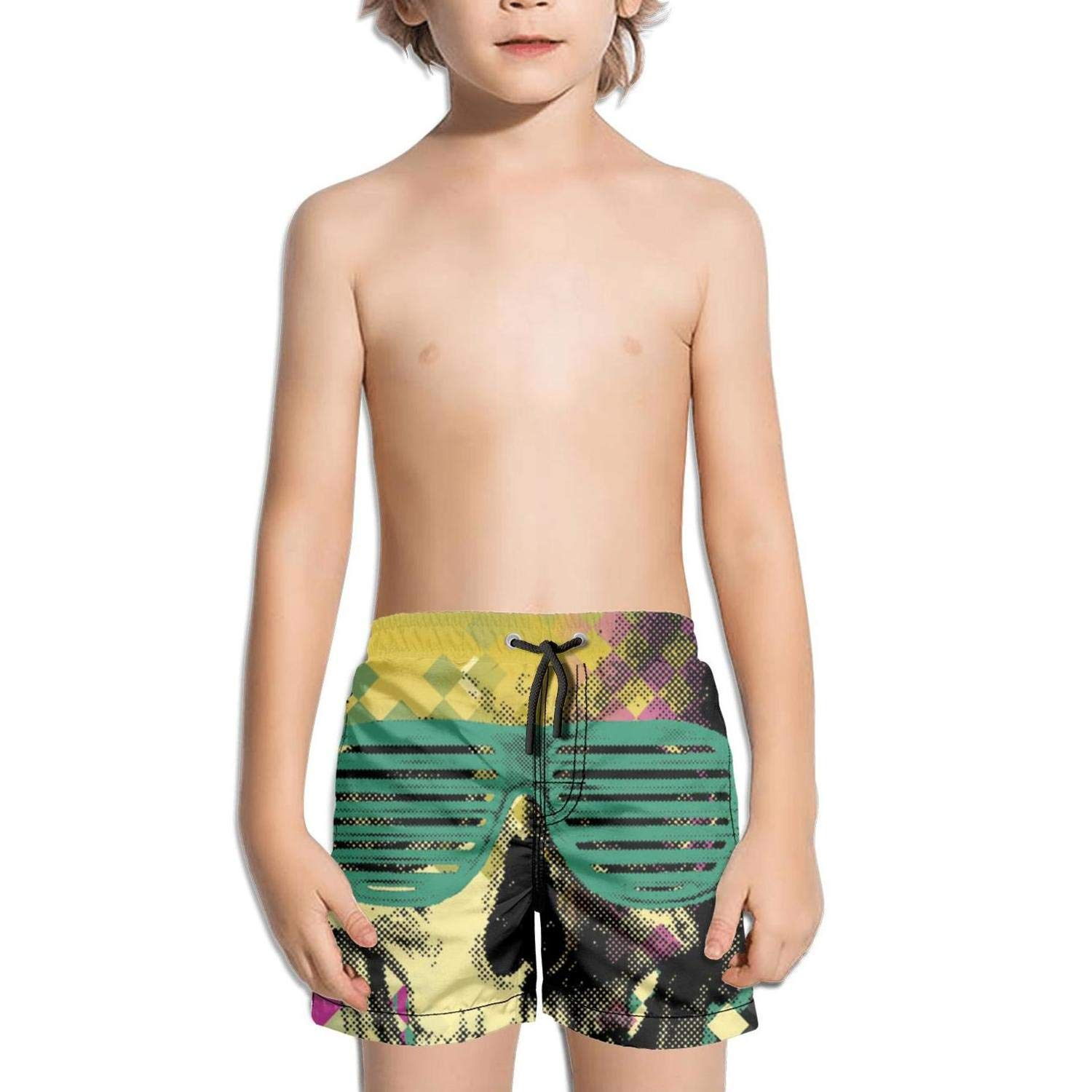 FullBo Vintage Skull Glasses Little Boy's Short Swim Trunks Quick Dry Beach Shorts