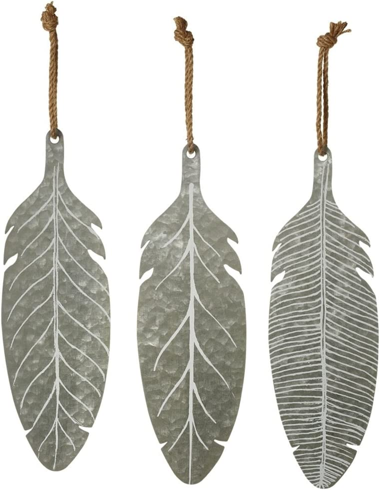 "Set of 3 Midwest CBK 12.25"" Galvanized Metal Hanging Feathers"