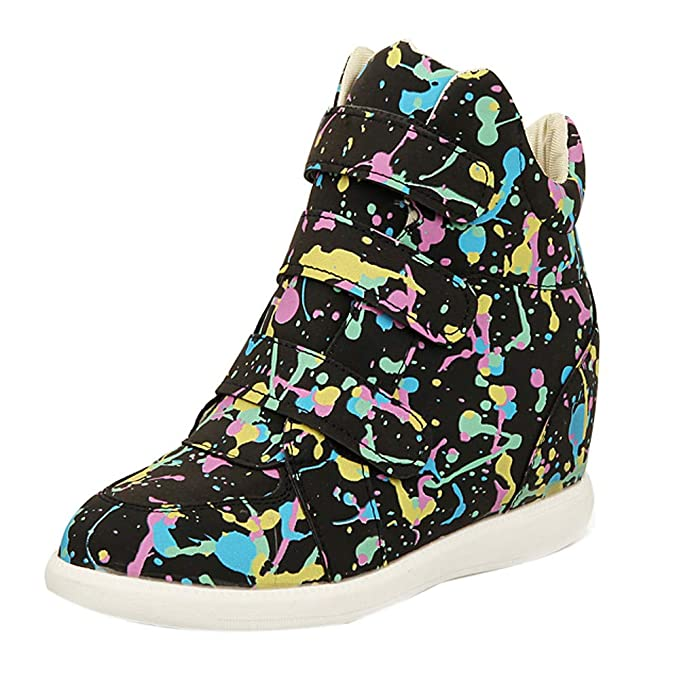 df0e456f930a DENER❤ Women Ladies Leather High Top Sneakers with Wedge Heels,Colorful  Waterproof Arch