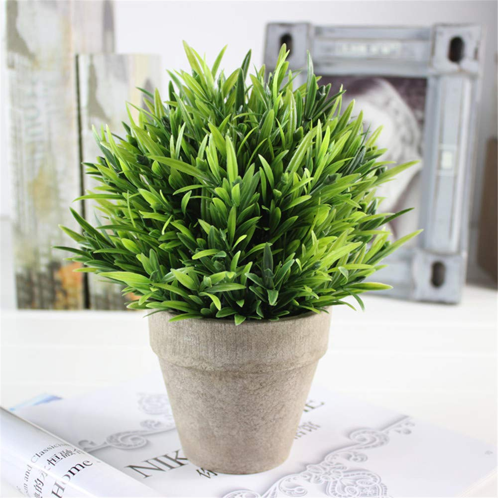 JruF Green Luohan Grass Simulation Potted Bonsai Plant, Artificial Plant, Uv Protection Artificial Bush Bundle Indoor Outdoor Family Kitchen Office Window Sill Table Center Piece Arrangement