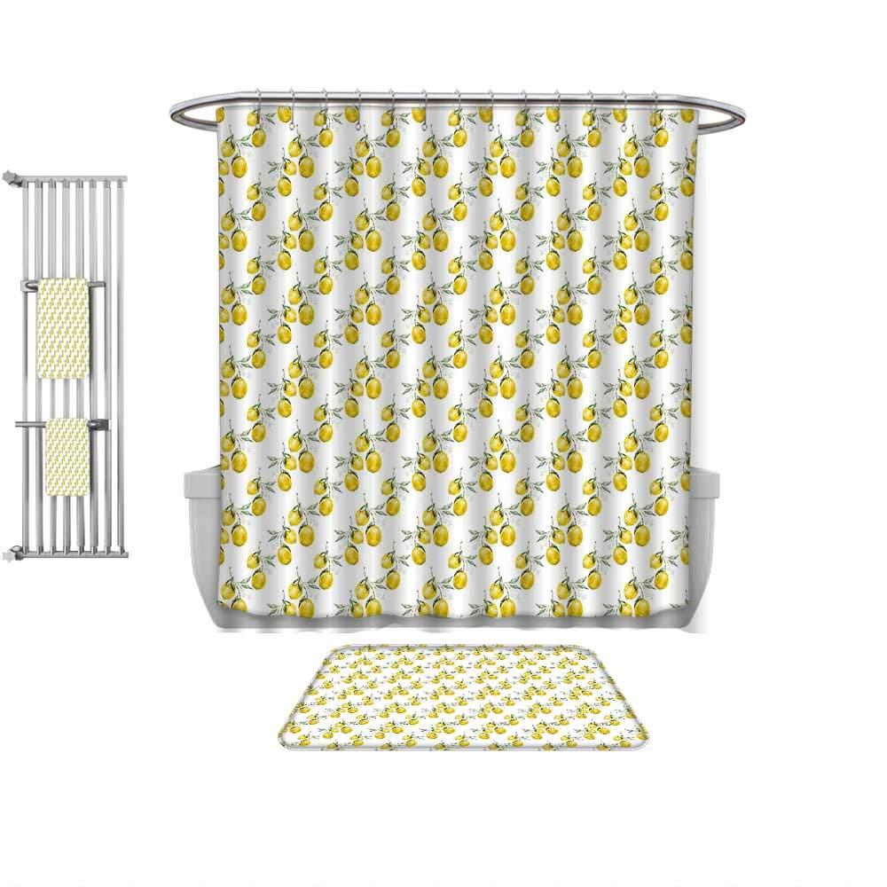 QINYAN-Home Print Bathroom Rugs Shower Curtain Nature Lemon Tree Branches Agriculture Kitchen Lemonade Citrus Figure Graphic Art Olive Green Yellow, Rug& Shower Curtain Bath Towel-Multiple Sizes