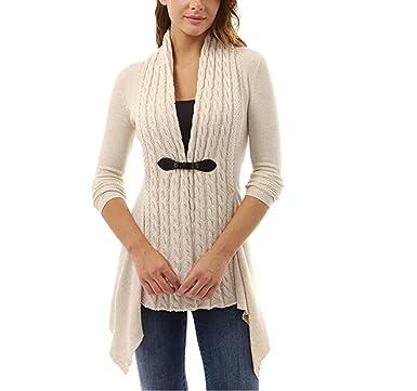 02da6263843 YOURNELO Women s Elegant Buckle Braid Front Knit Sweater Cardigan (S