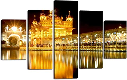 Yatsen Bridge Golden Temple Canvas Painting 5 Panels Amritsar Sikh's Heritage Wall Art Picture Holy Golden Temple at Midnight Poster Print Artwork Home Decor