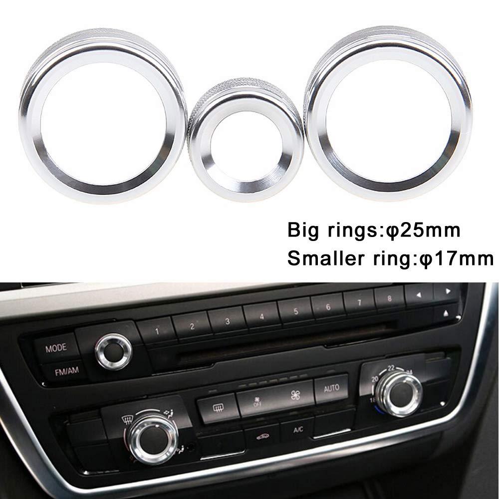 PolarLander 3Pcs//Lot Car Air Conditioning Rings Radio Volume Knob Ring Covers Decorative Circle Trim High Match Red