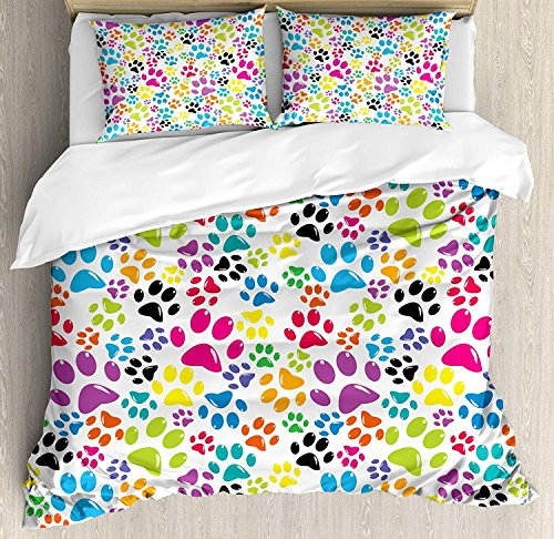 Dog 3 PCS Duvet Cover Set, Colorful Little Paws Cute Steps Childish Artwork Cartoon Unusual Traces Design, Bedding Set Bedspread for Children/Teens/Adults/Kids, Purple Blue Green TWIN / TWIN XL