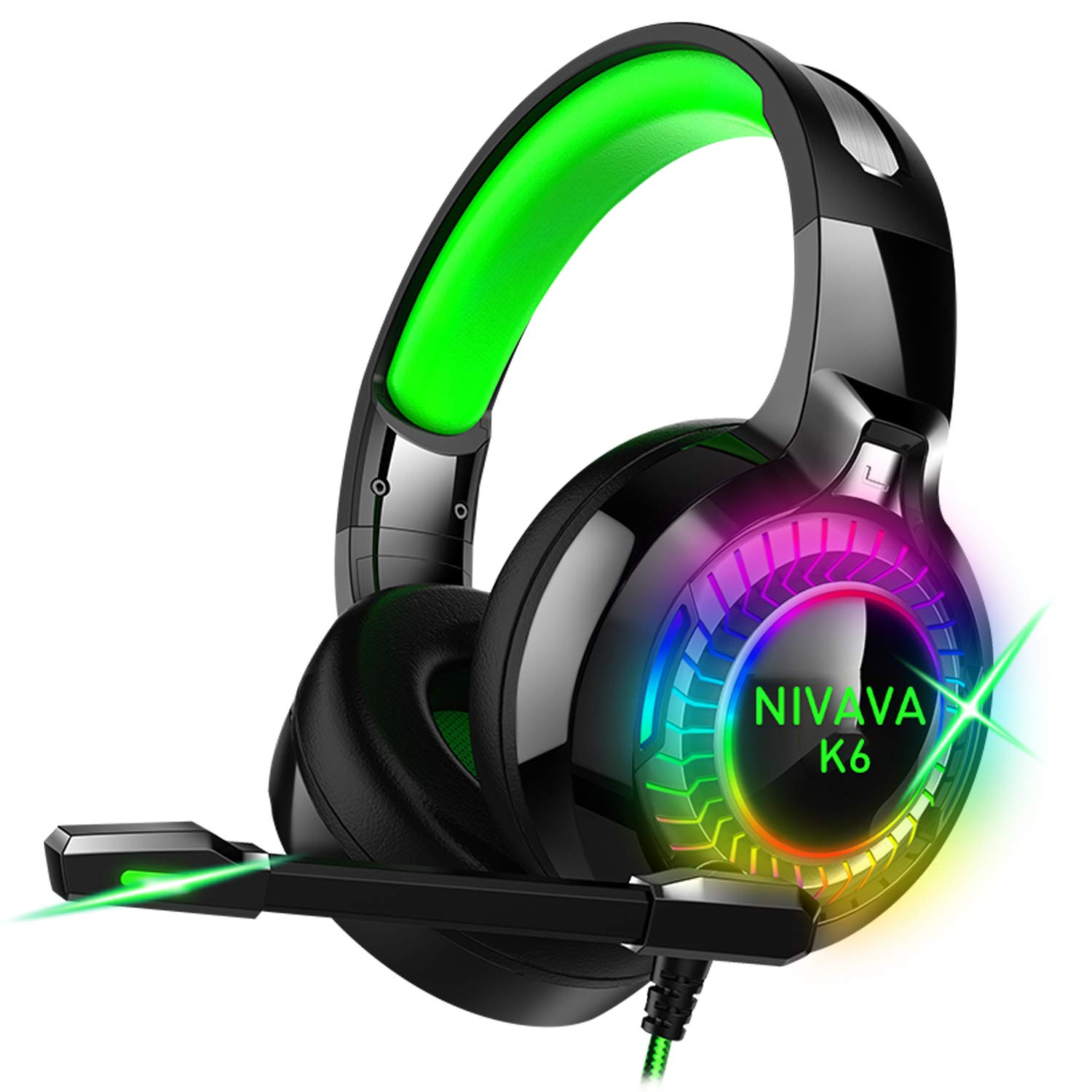 Nivava Gaming Headset for PS4, Xbox One, PC Headphones with Microphone LED Light Mic for Nintendo Switch Playstation Computer, K6 Green