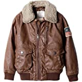 ZPW Kids PU Leather Flight Bomber Aviator Jacket with Removable Faux Fur Collar