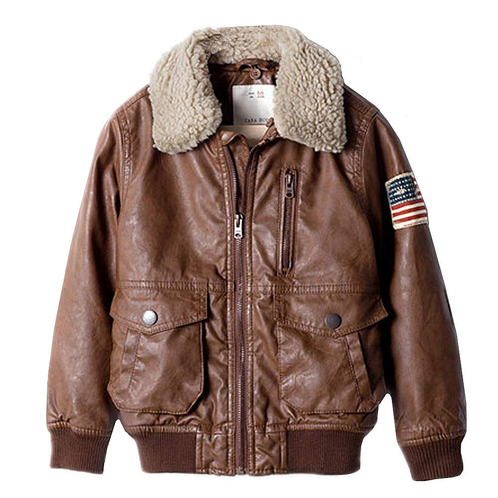 ZPW Kids PU Leather Flight Bomber Aviator Jacket with Removable Faux Fur Collar, Brown, 13-14Years