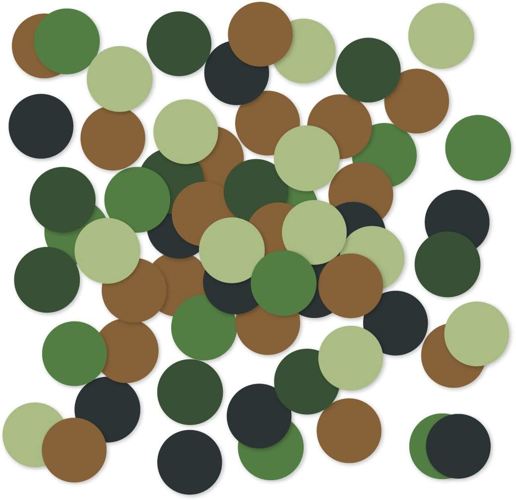 Andaz Press Large Confetti Party Table Decor, 1.5-inch Double-Sided, Camouflage Military Collection, 180-Pack