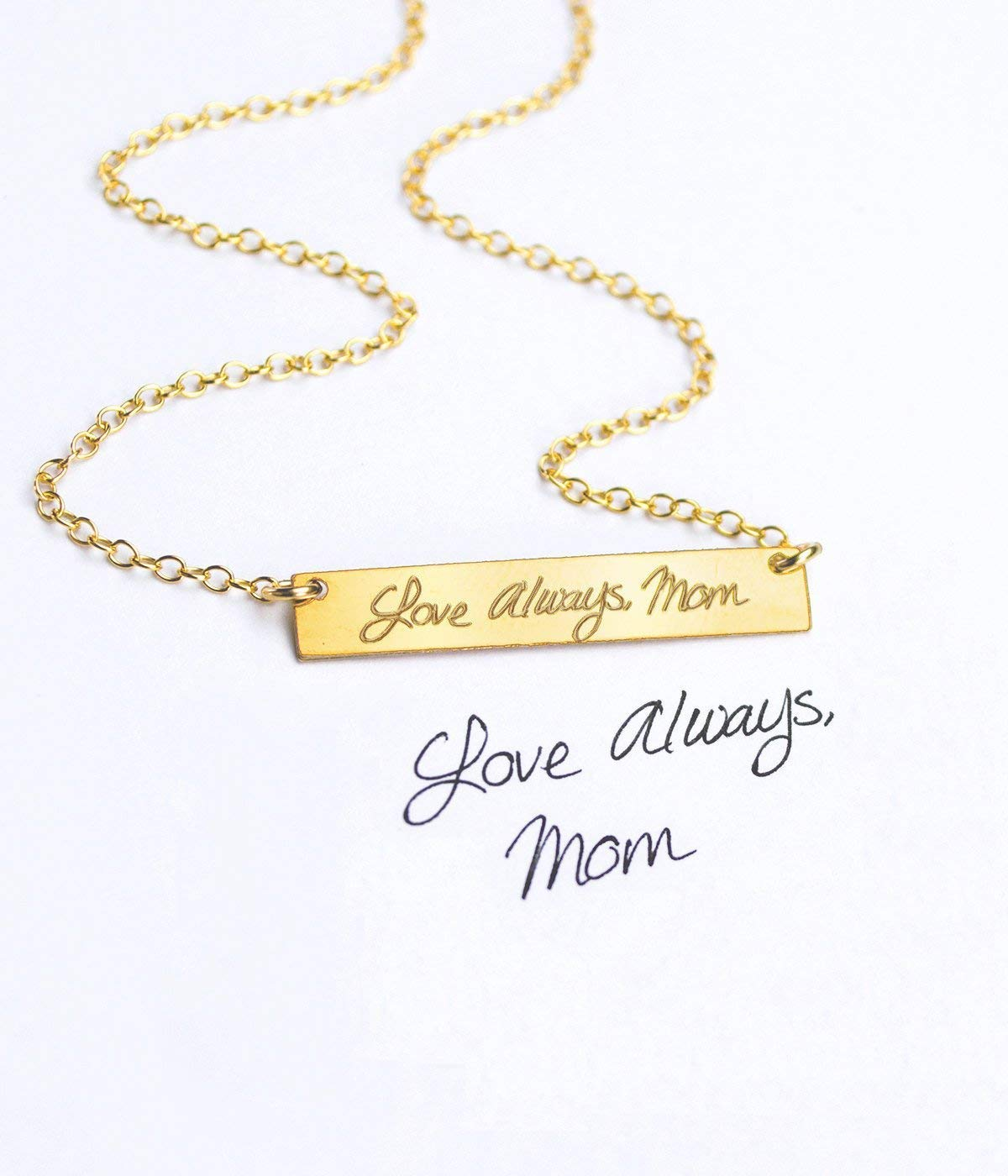 5f6a424d744c8 Actual hand writing Necklace, Gold Filled, Rose Gold Filled or Sterling  Silver Bar Necklace, Custom Handwriting Necklace, 5x30mm Engraved Bar