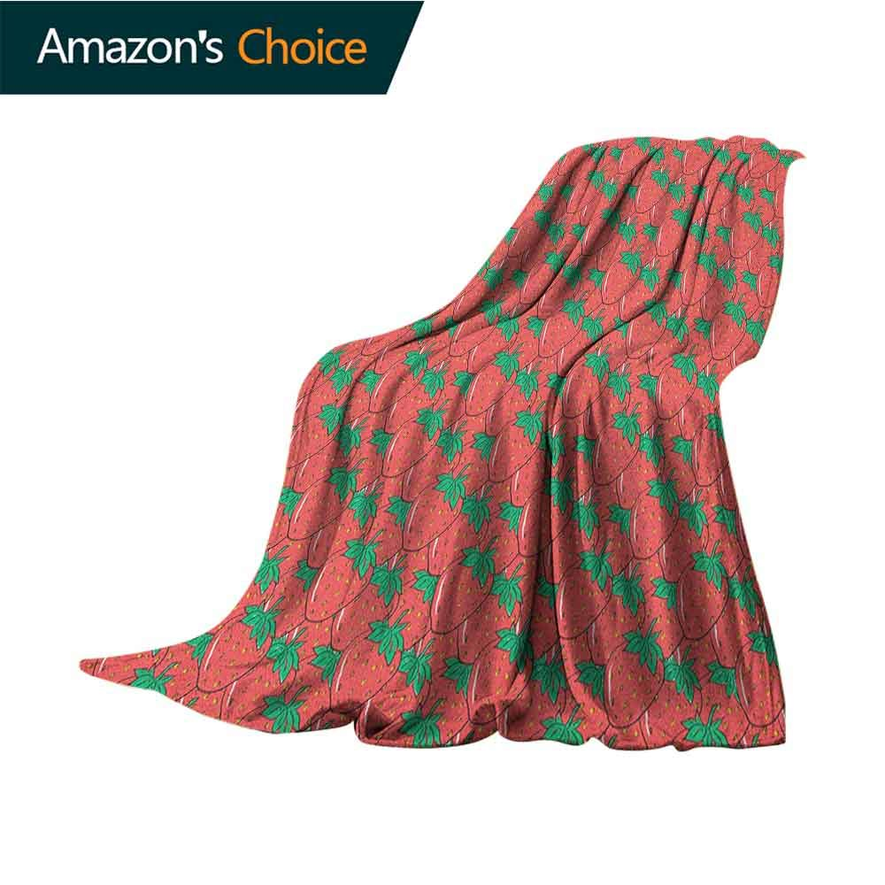Strawberry Gravity Blanket,Hand Drawn Style Pattern with Exotic Summer Fruit Ripe Fresh Cozy and Durable Fabric-Machine Washable,50'' Wx60 L Dark Coral Jade Green Yellow