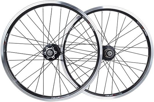 MZPWJD Juego Ruedas Bicicleta 20 Pulgadas Bicicleta Plegable Ruedas Traseras Delanteras Llanta Aleación Doble Pared Liberación Rápida Disco V- Freno 32 Hoyos 7 8 9 10 Velocidad (Color : Black): Amazon.es: Deportes y aire libre