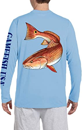 Microfiber Moisture Wicking Long Sleeve UPF  Fishing Shirt Redfish