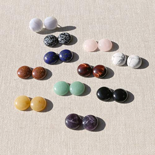 Solid Sterling Silver Rhodium Plated 16 Millimeters Natural Gemstones Cabochon Button Stud Earrings