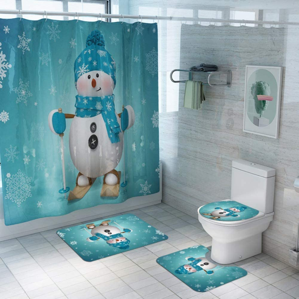 ARTIFUN 9 PCS Christmas Bathroom Decorations Set Toilet Seat Cover Rug  Shower Curtain Sets Xmas Santa Claus Elk Snowman Bathroom Decor
