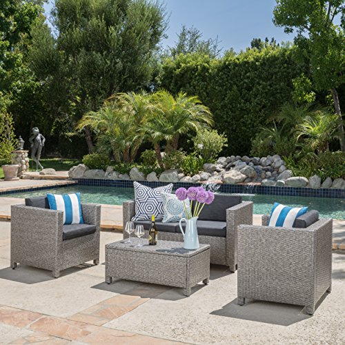 Venice Outdoor Wicker Patio Furniture 4 Piece Grey & Black Sofa Seating Set w/ Cushions by Great Deal Furniture