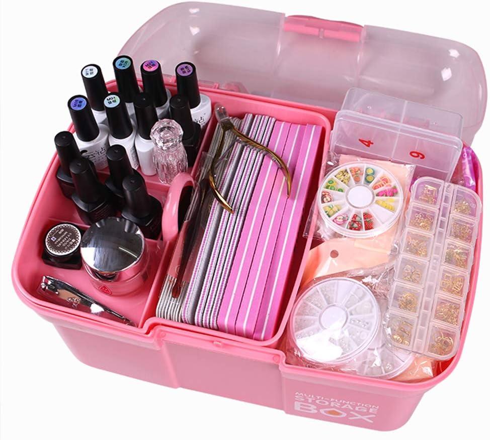 Estuche de maquillaje de uñas, Caja de belleza portátil de esmalte de uñas cosmética Lámpara LED de clavo puede ser colocada Estuche cosmético de viaje,Para manicuristas, salones de peluquería.: Amazon.es: Hogar