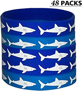CupaPlay 48 PCS Shark Party Favors Rubber Bracelets - Under the Sea/Baby Shark Birthday Party Supplies Goodie Bag Stuffers Fillers Slicone Wristbands