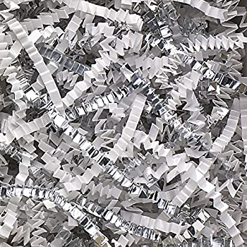 2 Pound Crinkle Cut Paper Shred - Metallic Silver and White