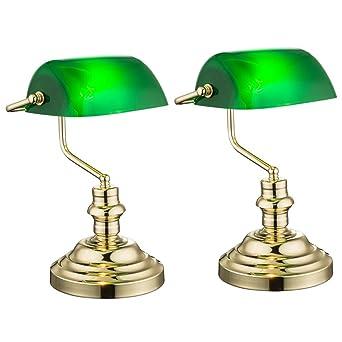 2er Set Nostalgie Antik Retro Tisch Lampe Banker Leuchte