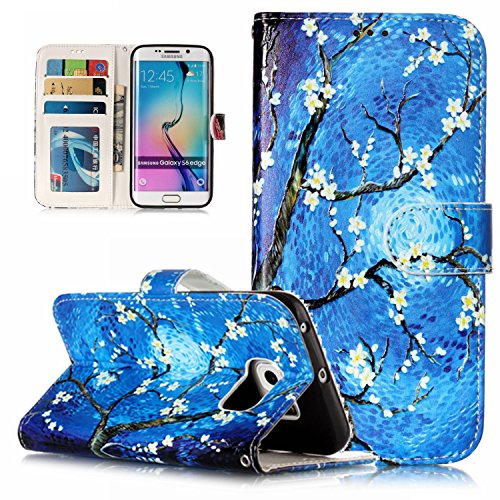 lovely JuSha for Samsung Galaxy S6 Edge Case PU Leather Wallet Magnetic Cover Skin ( Horde Pattern )